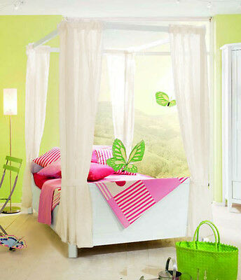 Kids Girls BED CANOPY Curtains FOURPOSTER Drape Set PINK or LILAC Sheer Voile