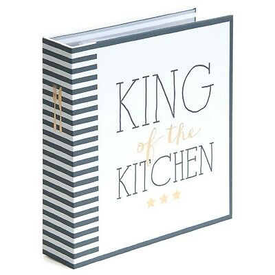 "Rezept Ordner A5 ""King of the Kitchen"" Register 40 Rezeptkarten Sammlung DIY Neu"