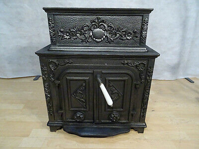 Antique French Multi Fuel Wood Coal Burning Stove In Cast Iron Serpent Decor