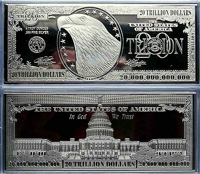 "$20 TRILLION PROOF 4oz SILVER CURRENCY BAR IN AIR-TITE CASE 2.5"" x 6"" .999 + COA"