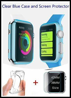 Clear Apple Blue iWatch 38mm Soft Protective Case with 2 Free Screen Cover