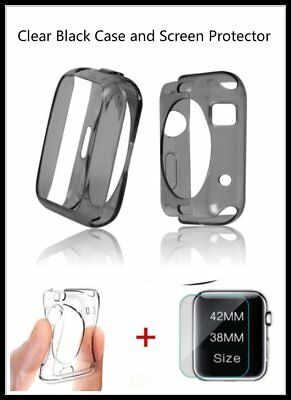 Clear Apple Black iWatch 38mm Soft Protective Case with 2 Free Screen Cover