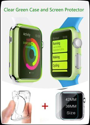Clear Apple Green iWatch 38mm Soft Protective Case with 2 Free Screen Cover