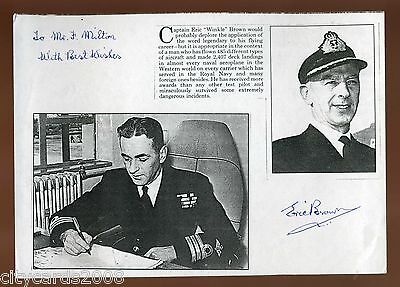 Short article about Captain Eric 'Winkle ' Brown  Signed  by him