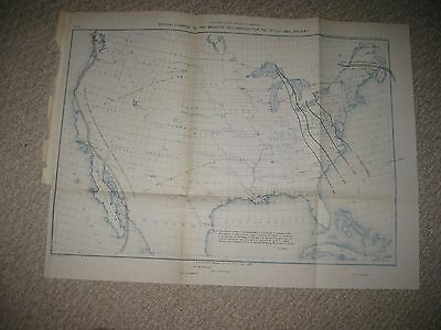 Antique 1887 Magnetic Declination Lines United States Map Texas Territory Rare