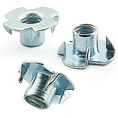 M6 x 9mm FOUR 4 PRONGED TEE NUT SHOP FITTING FURNITURE BZP NUTS HEADBOARD