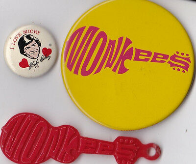 """Vintage Lot of 3 1960's """"The Monkees"""" Buttons & Charm"""