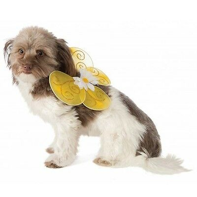 Cat Dog Pet Bumble Bee Wings - Yellow with Gold Glitter and a Daisy - 2 size fnt