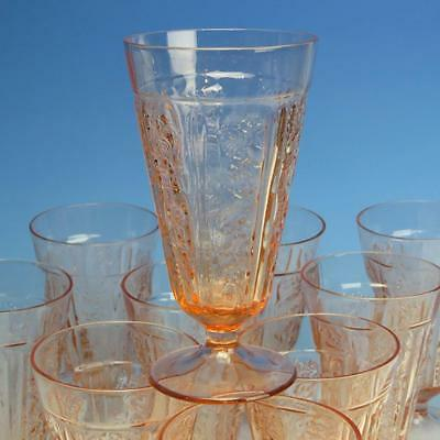 """Federal Glass - Pink Sharon Cabbage Rose Depression - SINGLE 6¾"""" Footed Iced Tea"""