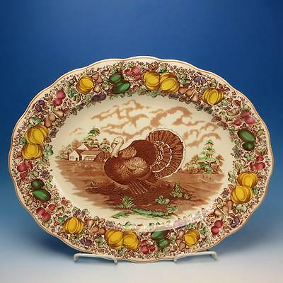 "Barker Bros China - Colorful Thanksgiving Turkey Platter - 20"" by 16"""