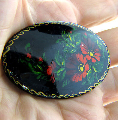 Vintage Russian Lacquer Red Floral Brooch Pin Hand Painted Signed 1.25x2 Oval