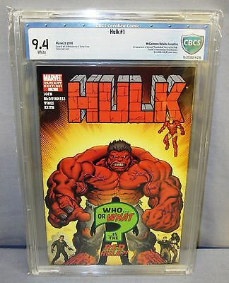 HULK #1 (First Red Hulk, McGuinness Variant non Atomic) CBCS 9.4 Marvel 2008 cgc