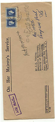 NEW ZEALAND official stamp on cover censor 1941 to US MS0826