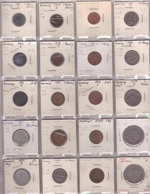 ( 20 ) 1924-1980 Germany Coins F-XF-AU 1, 2, 5, 10, 50 Pfennig & Mark Coin Lot