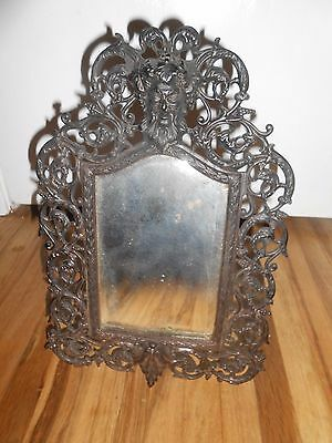 Antique Rare FANCY CAST IRON MAN OF THE NORTH Victorian ORNATE OLD MIRROR - WOW