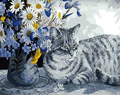 Painting by Number kit Lovely Favorite Cat Kitty House Pet Friend Animal BB7610