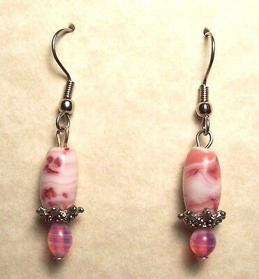 Pierced Earrings Pink Vintage Glass Beads, Surgical Steel Wires NEW Silver Tone