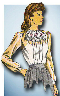 1940s Vintage Simplicity Sewing Pattern 4556 Uncut Misses Tucked Blouse Size 30B