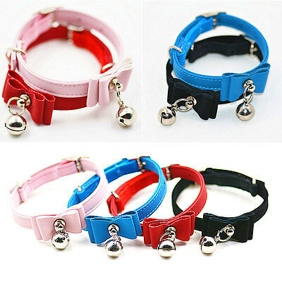 Animal Chien Chat cuir PU Souple Collier Avec Protection Boucle & Cloches