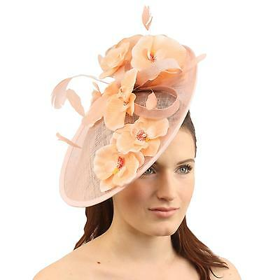 Orchid Floral Feather Handmade Derby Headband Fascinator Millinery Church Pink