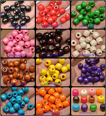 50pcs/100pcs charms Big hole wood Spacer beads accessories 11x12mm