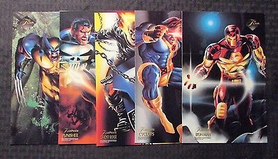 "1994 Flair Prints 6.5x10"" Card LOT of 5 NM 9.4 Wolverine Punisher Ghost Rider ++"