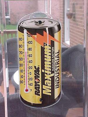 3 Vintage 1980's  RAY-O-VAC Battery Advertising Window Thermometer NEW OLD STOCK