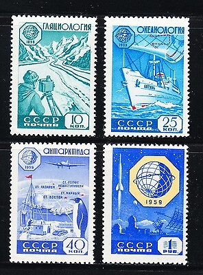 Russia 1959 MNH Sc 2232-2235 Geophysical Year,Rocket,science,Observatory,penguin
