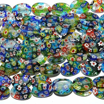 GX3578 10-Strand Multiple Colored Flower 18mm Flat Oval Millefiori Glass Beads
