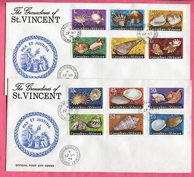 3 Fdc 1974 St Vincent Grenadines Sea Shells To $5