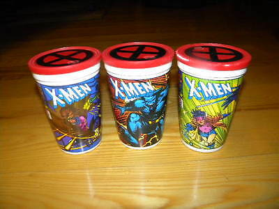 """Lot of 3 Different 1993 Marvel Pizza Hut 5"""" Used Plastic X-Men Cups"""