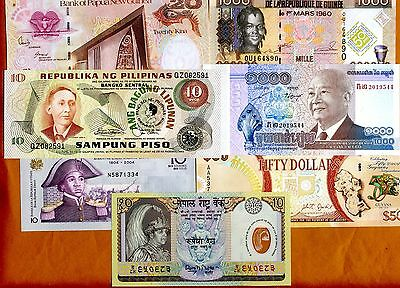 SET, 7 Commemorative banknotes, from 7 countries, UNC