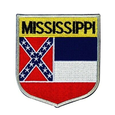 "State Flag Shield ""Mississippi"" Iron-On Badge Patch Travel USA Souvenir Applique"