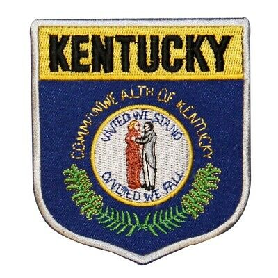State Flag Shield Kentucky Patch Badge Travel USA Embroidered Iron On Applique