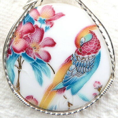 Tropical Bird Porcelain Cameo Pendant .925 Sterling Silver Jewelry Multi-Color