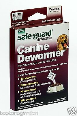 New Safe-Guard Canine Dog Dewormer, Tapeworms 3-4 Gram Pouches, Treats 40 lbs
