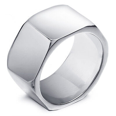 MENDINO Men's Unisex 316L Stainless Steel Ring Hexagon Band High Polished Silver
