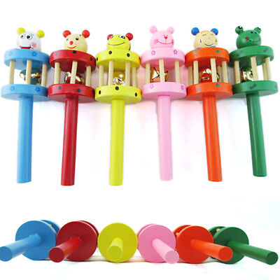 Wooden Handbell Cartoon Animal Jingle Toy Musical Instrument for Baby Kids