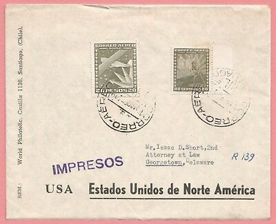 1954 Chile 20 Peso On Registered Airmail Cover To Usa