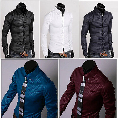 Luxury Fashion Men Casual Shirt Slim Fit Dress Shirts Men's Tops Long Sleeve T