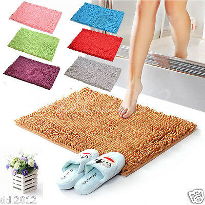 Shaggy Microfibre Bathroom Shower Absorbent Bath Mat Non-Slip Rugs Carpet Hot