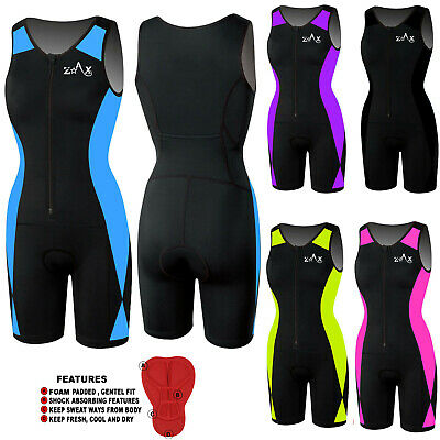 Ladies Triathlon Suit Padded Tri Swimming Cycling Running Yoga Skin Fit Suit