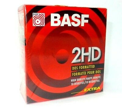 Basf Floppy Disks Pack Of 10 High Density 2Hd Diskettes ... Sealed & New