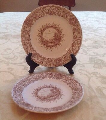 1883 Lot 2 Ideal WH Grindley & C Tunstall Brown on White  Plate Transferware
