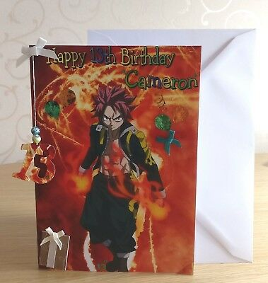 Large A4 Folded Personalised Anime Fairy Tail Happy Birthday Card