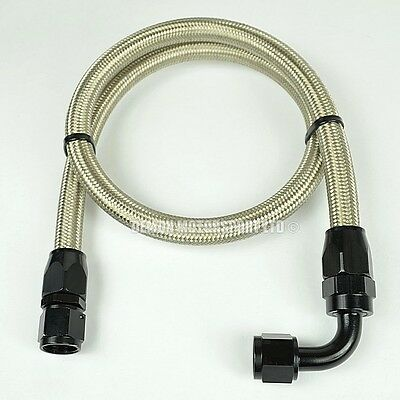 """AN6 -6 (8mm) 5/16"""" Braided Fuel Hose Assembly 61cm Oil Fuel Line Black"""