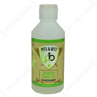 PITS AND BITS NO RINSE SHAMPOO - LARGE - 200ml Camping Military Hiking Festival