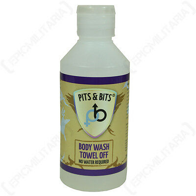 PITS AND BITS NO RINSE BODY WASH - LARGE 200ml Camping Military Hiking Festival
