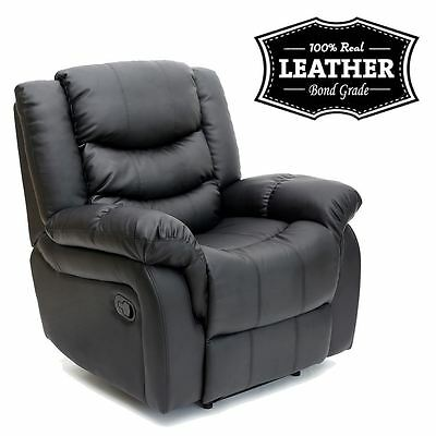Seattle black leather recliner armchair sofa home lounge chair
