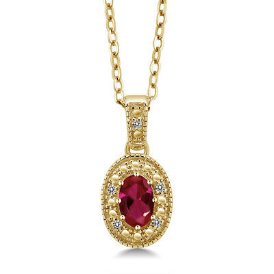 0.54 Ct Red Created Ruby White Diamond 18K Yellow Gold Plated Silver Pendant